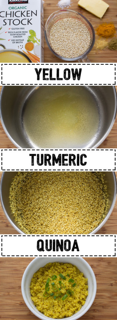 This healthy Yellow Quinoa is infused with turmeric and chicken broth which makes it the perfect nutritional side dish.