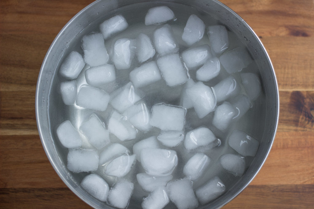 Bowl filled with ice water.