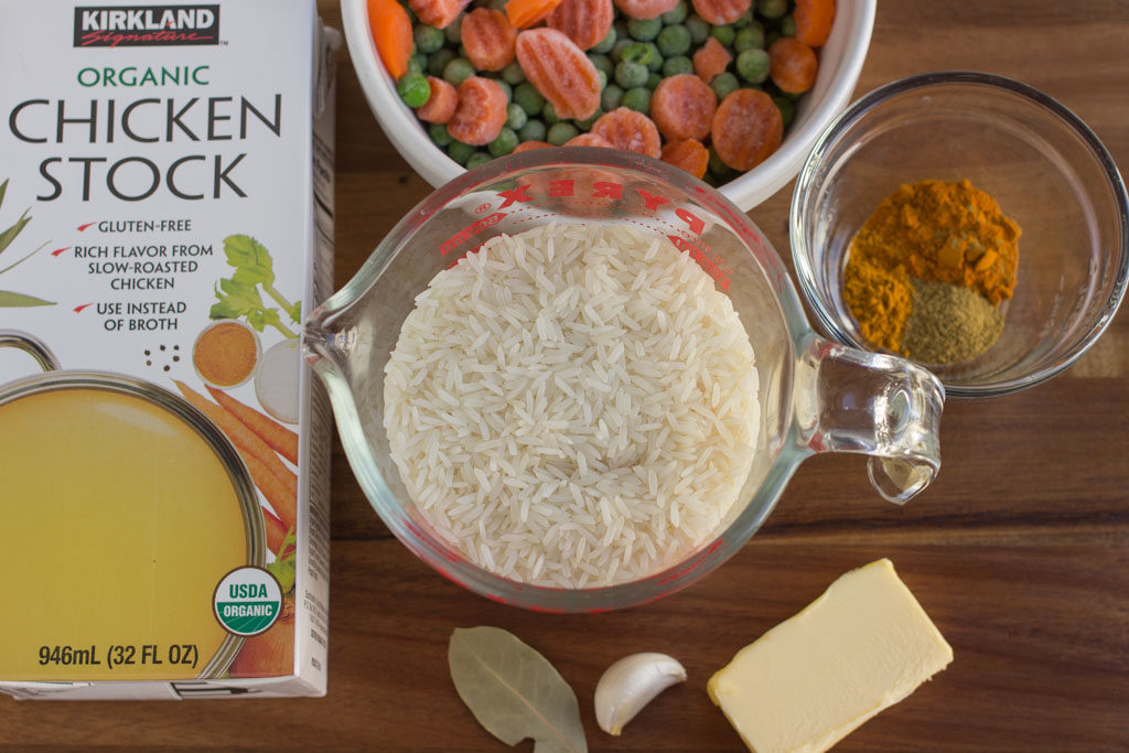All the ingredients needed for Yellow Rice with Vegetables.