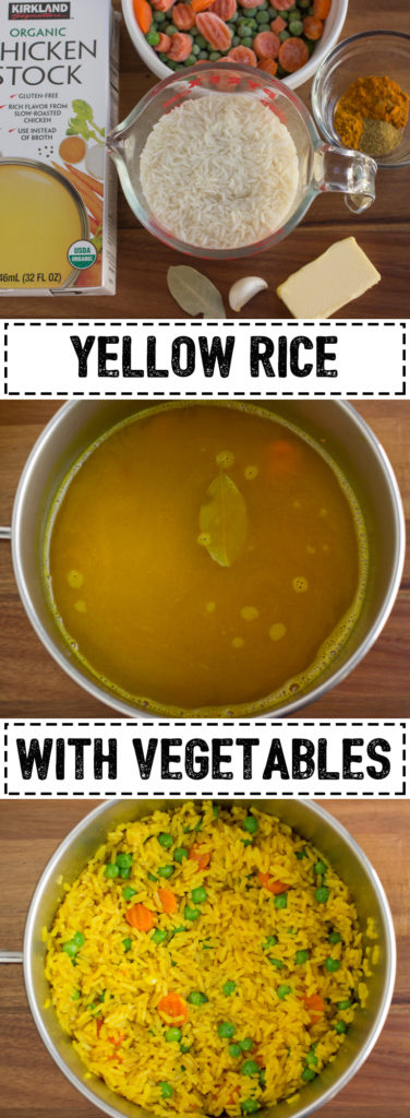 Pinterest long pin for Yellow Rice and Vegetables