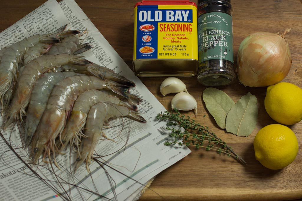 All the ingredients needed for Perfectly Boiled Shrimp