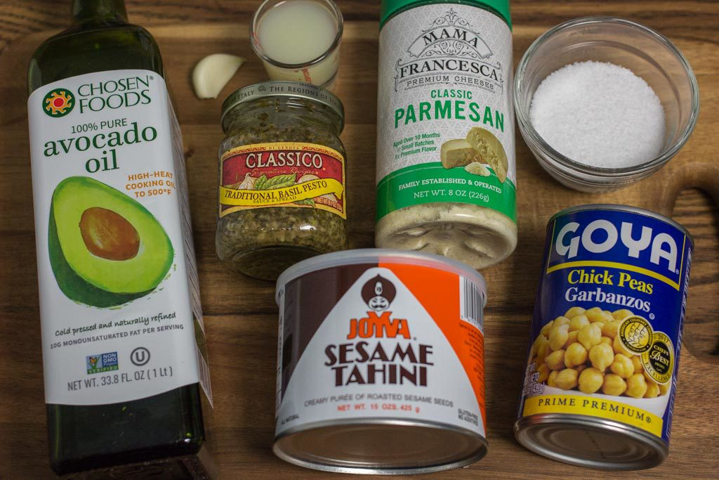 Individual ingredients for Pesto Hummus