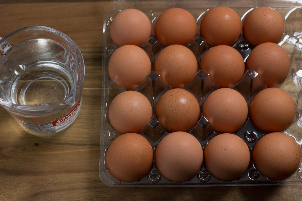 Individual ingredients for Instant Pot Hard Boiled Eggs.