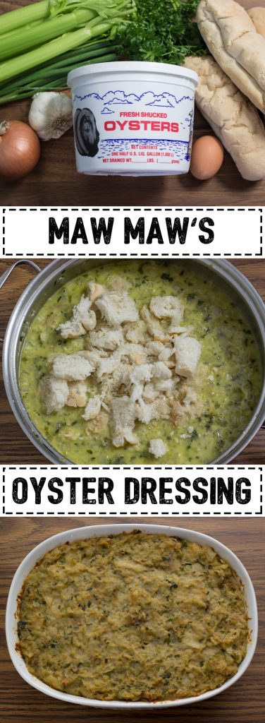 Oyster Dressing is a traditional southern dish that is the perfect addition to your holiday meal. It can be stuffed in a turkey or served as a side dish.