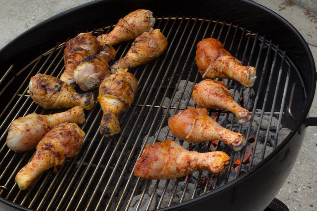Chicken legs over direct heat on a Weber grill